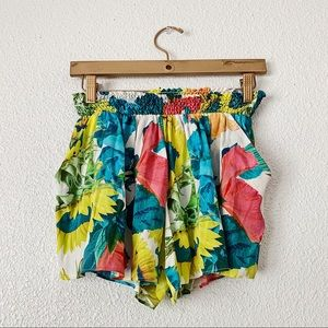 Alice and Olivia Sunflower Floral Print Shorts
